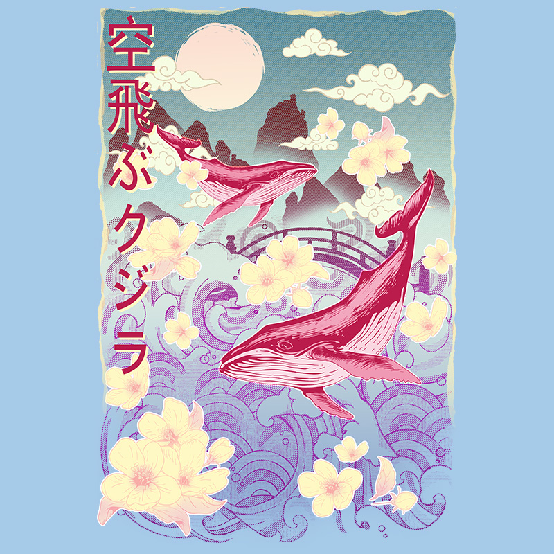 otakudezain, whales, sky, waves, japon, cloud, vintage, dream, flower tshirt, tshirtdesign, tshirtprint, tshirtslovers, artwork, fanart