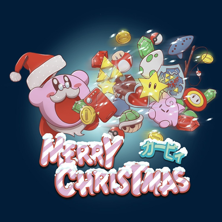 kirby, merrychristmas, nintendo, gamer, zelda, mario, pokemon, santaclaus, triforce, pokeball, mushroom, pokedex, candy, star, flower, coin, egg, shield, tshirt, tshirtdesign, tshirtprint, tshirtslovers, artwork, fanart, otakudezain