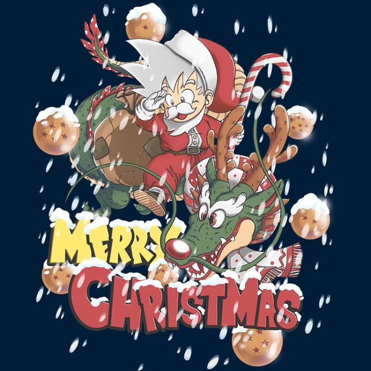 otakudezain, songoku, shenron, dragonball, manga, anime, merrychristmas, santaclaus, snow,