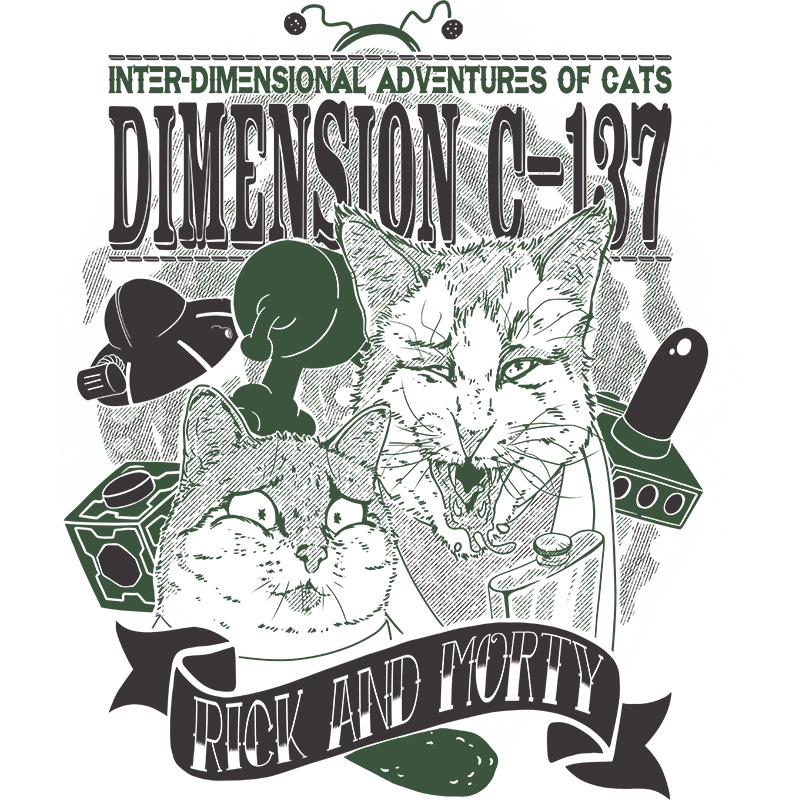 cats, rick, morty, adultswim, c137, dimension, cartoon, rickandmorty, tshirt, tshirtdesign, tshirtprint, tshirtslovers, artwork, fanart, otakudezain