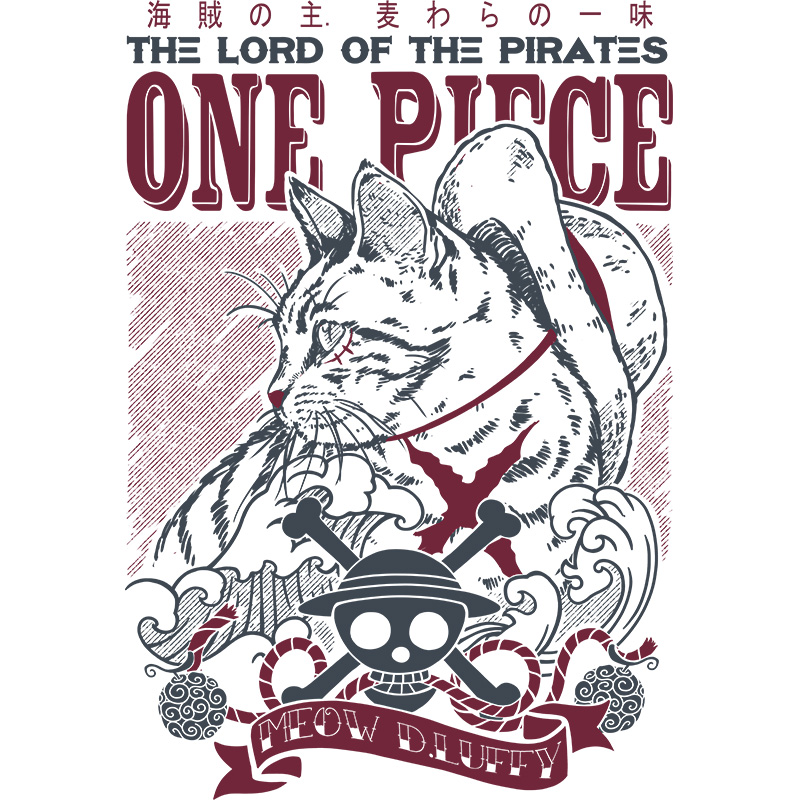 onepiece, luffy, meow, pirates, cats, anime, manga, strawhat, tshirt, tshirtdesign, tshirtprint, tshirtslovers, artwork, fanart, otakudezain