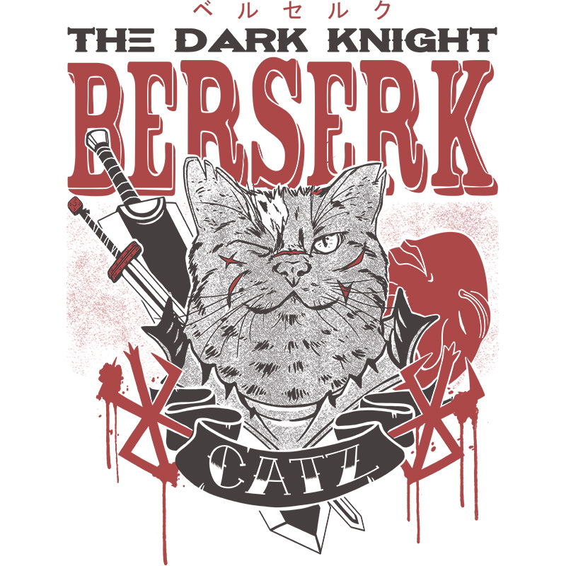 berserk, dark, knight, cats, anime, manga, fun, black, tshirt, tshirtdesign, tshirtprint, tshirtslovers, artwork, fanart, otakudezain