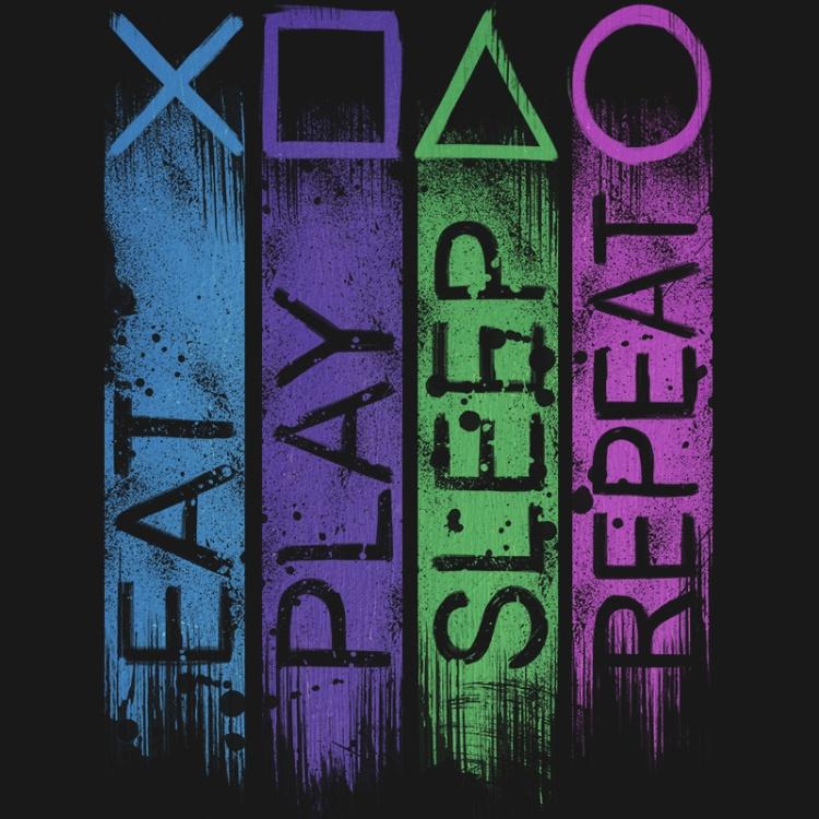 playstation, gamer, console, gaming, geek, play, repeat, routine, tshirt, tshirtdesign, tshirtprint, tshirtslovers, artwork, fanart, otakudezan