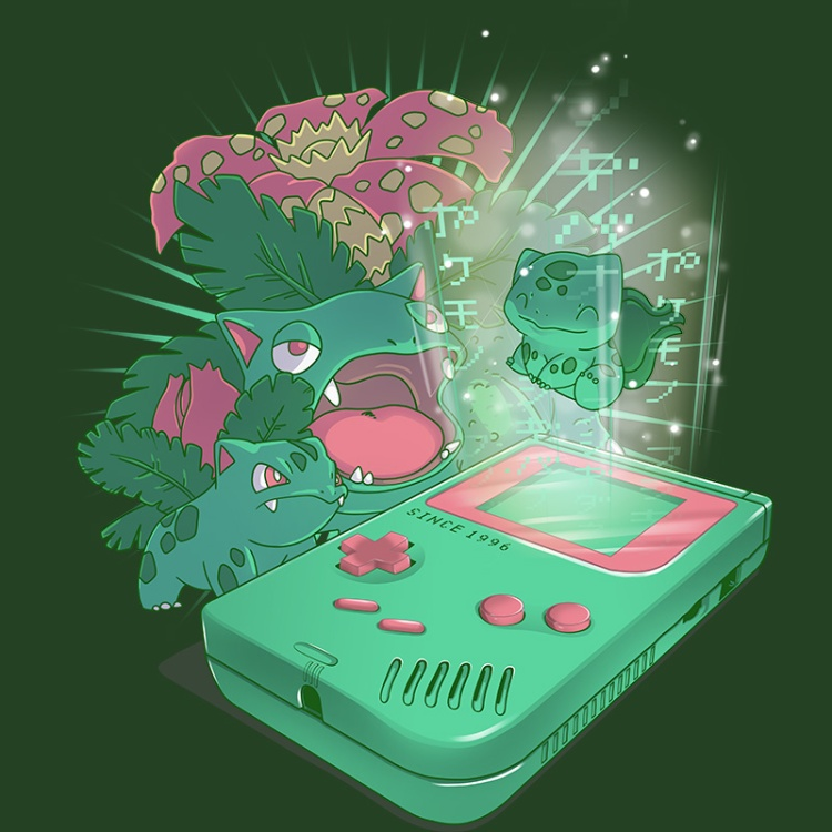 pokemon, green, grass, gameboy, retrogamer, nintendo, gamers, oldschool, tshirt, tshirtdesign, tshirtprint, tshirtslovers, artwork, fanart